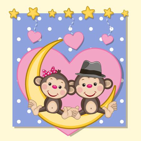 Tarjeta de San Valentín con los amantes de los monos en la Luna Foto de archivo - 35585561