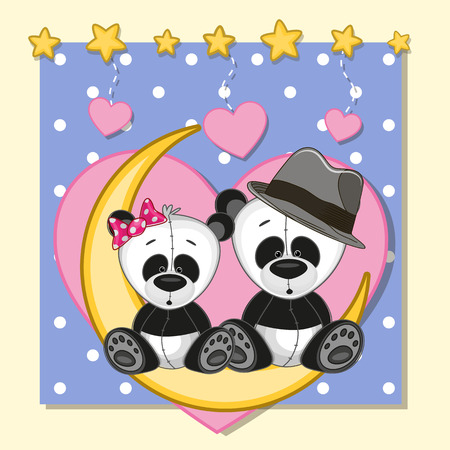 Valentine card with Lovers Pandas on the moon Vector