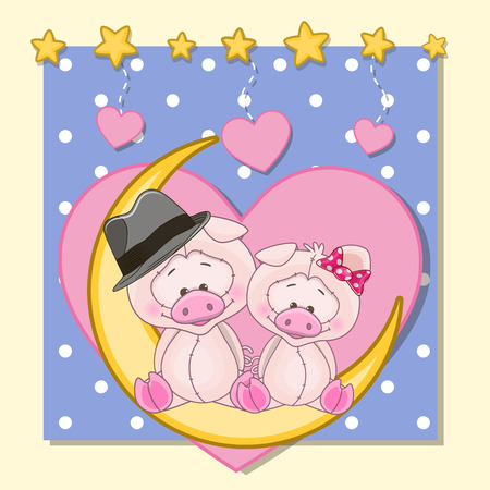 Valentine card with Lovers Pigs on the moon Vector