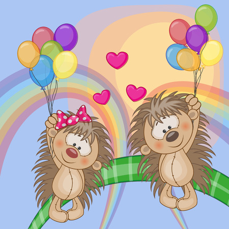baby girl cartoon: Valentine card with Lovers Hedgehogs flying on balloons