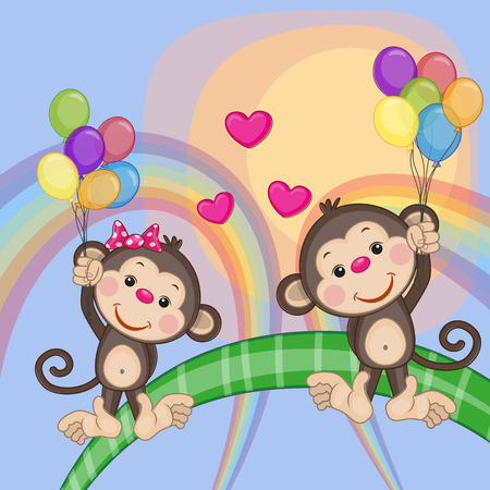 Valentine card with Lovers Monkeys flying on balloons Vector