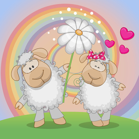 Valentine card with two Sheep on a meadow Vector