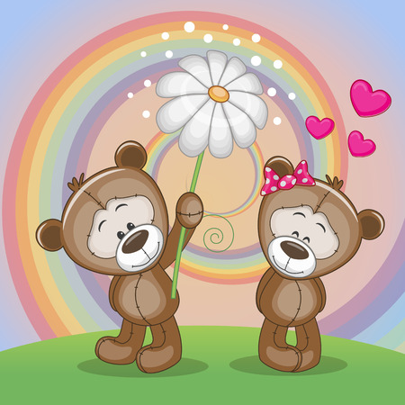 Valentine card with two Bears on a meadow Vector