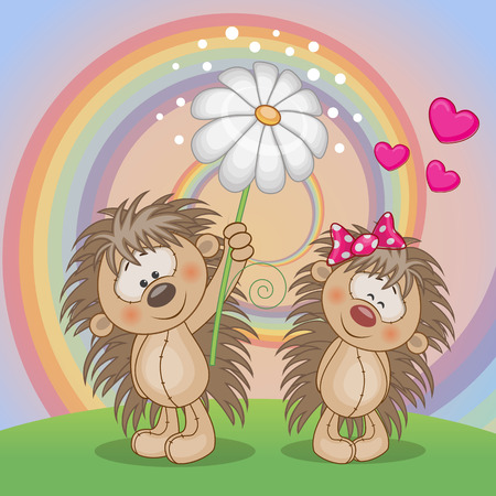 Valentine card with two Hedgehogs on a meadow Vector