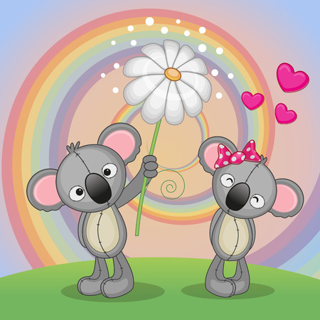 Valentine card with two Koalas on a meadow Vector