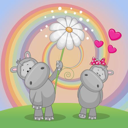 hipopotamo caricatura: Tarjeta de San Valentín con dos hipopótamos en un prado Vectores