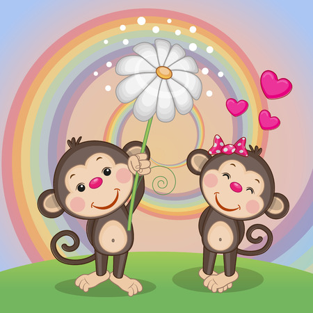 Valentine card with two Monkeys on a meadow Stock Illustratie