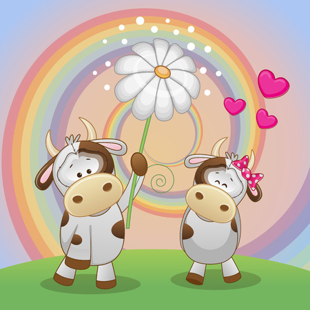 Valentine card with two Cows on a meadow Vector