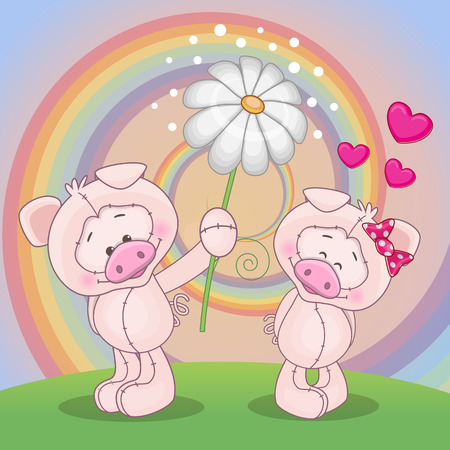 Valentine card with two Pigs on a meadow Vector