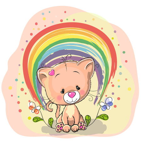 Cute Cat with rainbow and flowers Vector