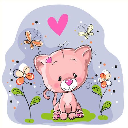 파란색 배경에 꽃과 나비와 함께 귀여운 고양이 일러스트