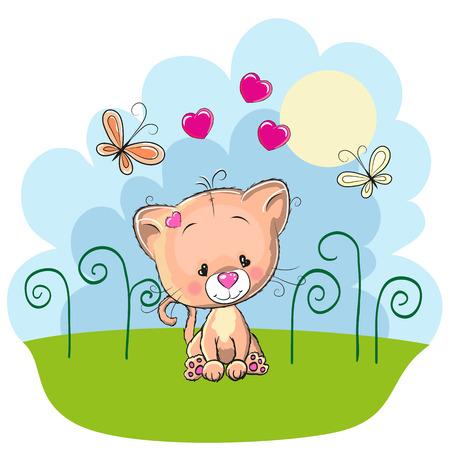 초원에 나비와 귀여운 새끼 고양이