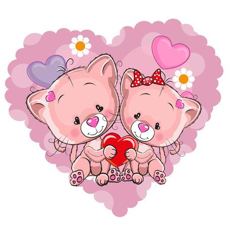 caricaturas de animales: Dos gatos en un fondo del coraz�n Vectores