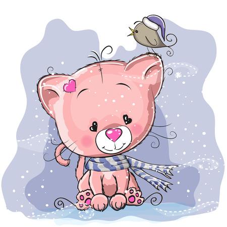 caricaturas de animales: Tarjeta de felicitaci�n de Navidad con el gatito lindo