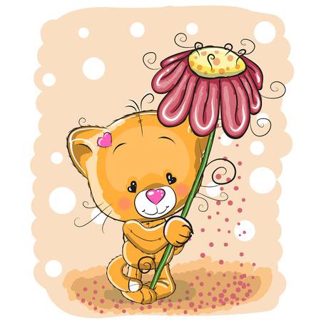 battesimo: Biglietto di auguri del gatto con fiore