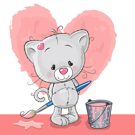 smiling cat: Cute Kitten with brush is drawing a heart