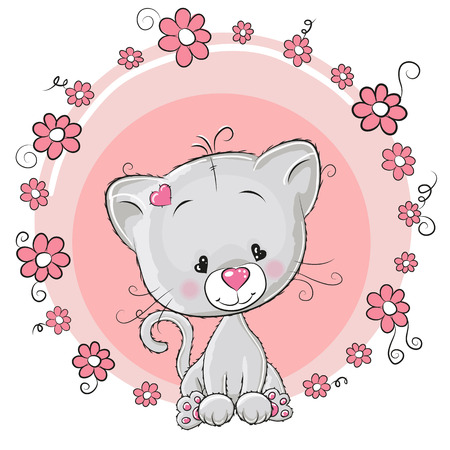 kitten cartoon: Greeting card Kitten with flowers