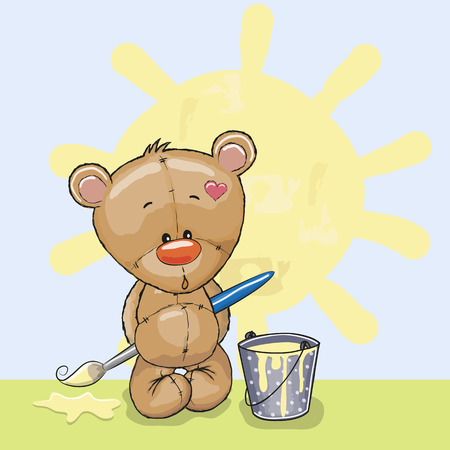 Cute Teddy Bear with brush is drawing a sun Ilustração