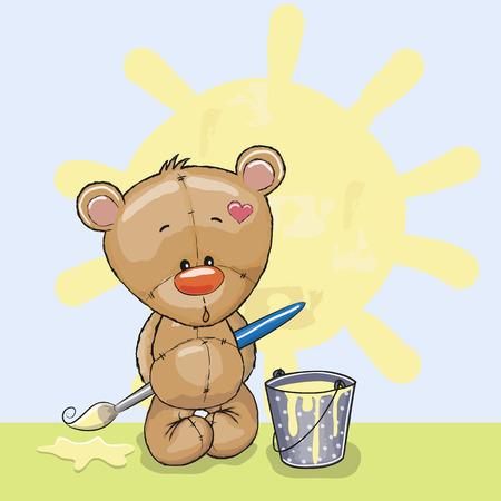 Cute Teddy Bear with brush is drawing a sun Vector