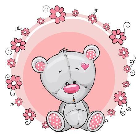 caricaturas de animales: Tarjeta de felicitaci�n del oso de peluche con flores Vectores