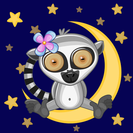 Cute Lemur is sitting on the moon Vector