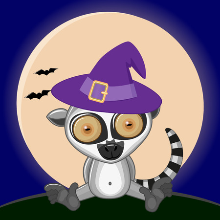 dedicate: Lemur in hat on the background of the moon