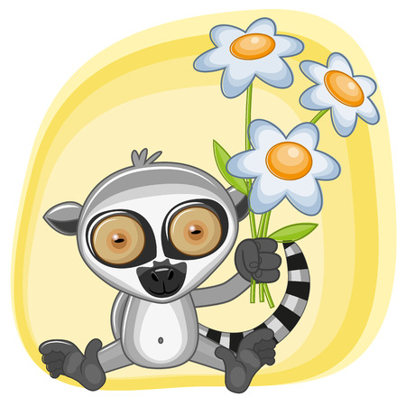 lemur: Greeting card Lemur with flowers Illustration
