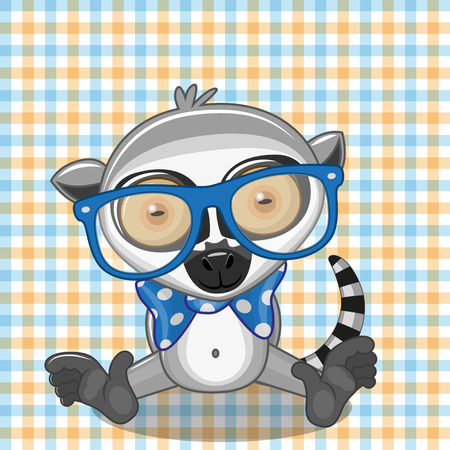 teenagers only: Hipster Lemur on a plaid background
