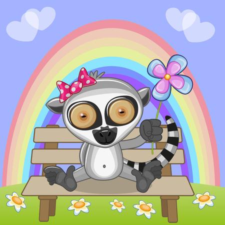 miss: Greeting card Lemur with flower