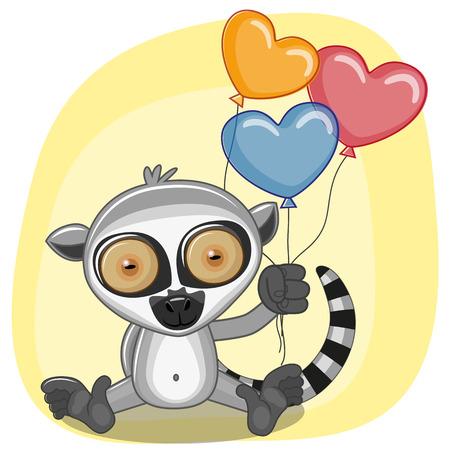 lemur: Greeting card Lemur with balloons