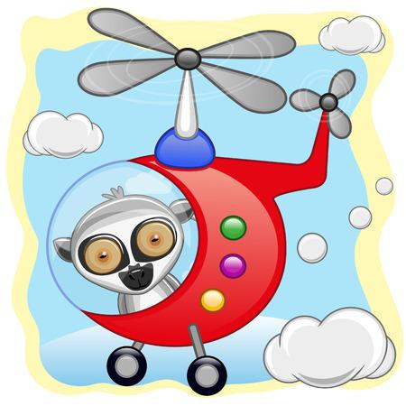freeride: Lemur est� volando en un helic�ptero Vectores