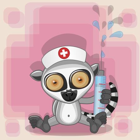 lemur: Lemur nurse with a syringe in his hand