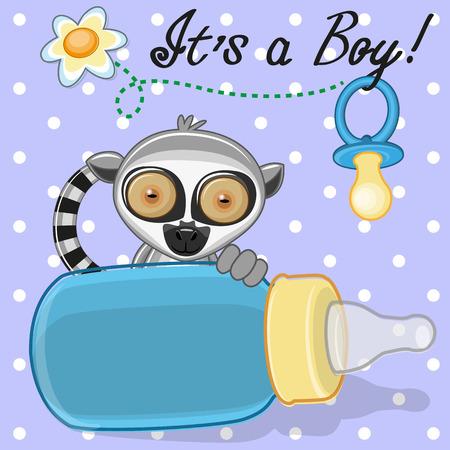 diaper pins: Cute Lemur with feeding bottle Illustration