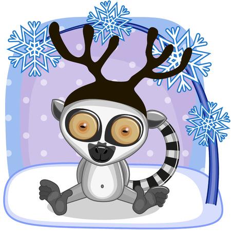 lemur: Christmas illustration of cartoon Lemur with antlers