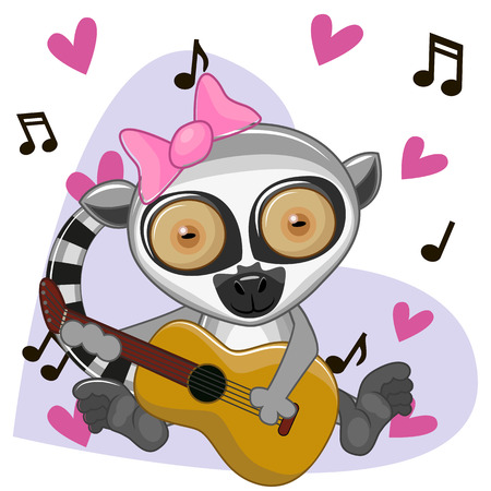 Lemur with a guitar on background music and hearts Illustration