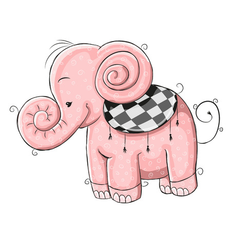 pink elephant: Cute Pink Elephant isolated on a white background