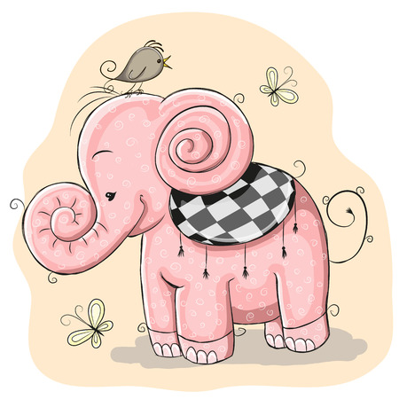 pachyderm: Cute Pink Elephant and bird on a yellow
