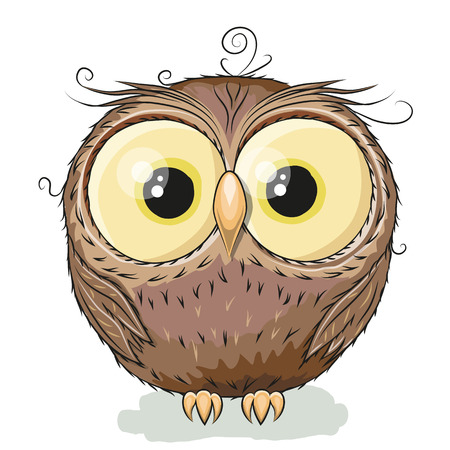 perching: Cute Owl isolated on a white background Illustration