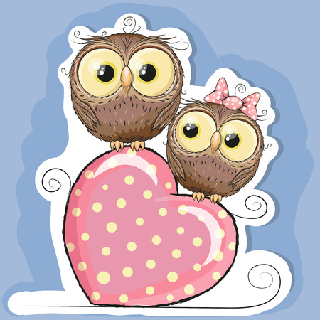 Two Cute Owls is sitting on a heart Illustration