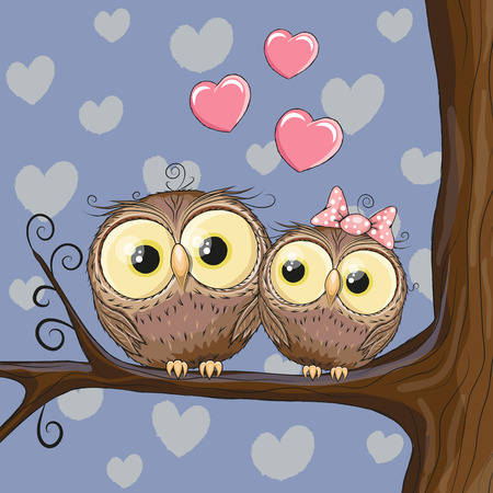 Two Cute Owls is sitting on a brunch