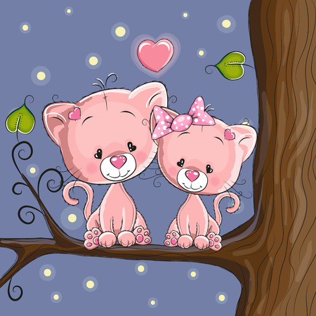 baby girl cartoon: Lovers Cats on a background of rainbow