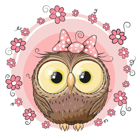owl illustration: Greeting card owl with flowers on a pink