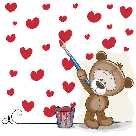 miss: Cute Bear with brush is drawing hearts