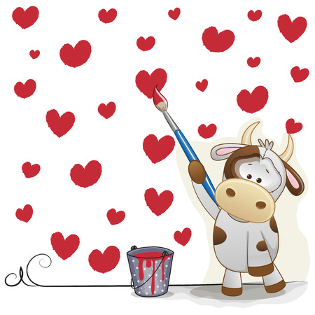 children cow: Cute Cow with brush is drawing hearts Illustration