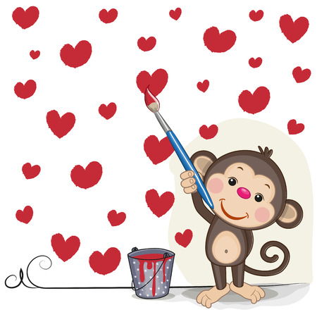 Cute Monkey with brush is drawing hearts