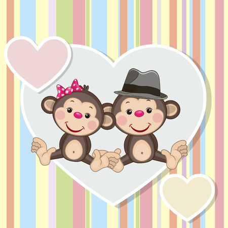 cartoons animals: Two Monkeys on a background of heart