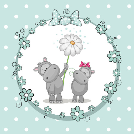 Greeting card with two Hippos in a frame Vector