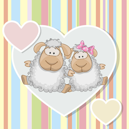 cartoon sheep: Two Sheep on a background of heart