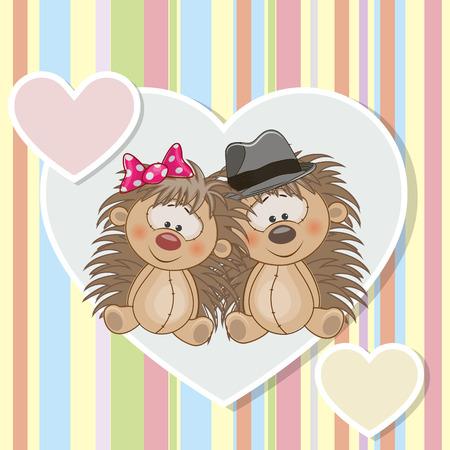 caricaturas de animales: Dos erizos en un fondo del corazón