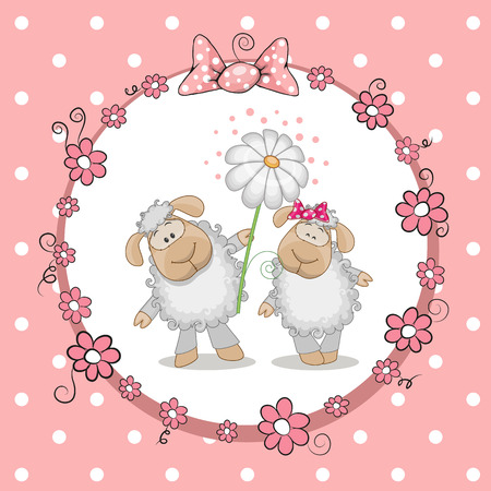 Greeting card with two Sheep in a frame Vector